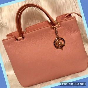 Michael Kors peachy pink leather satchel